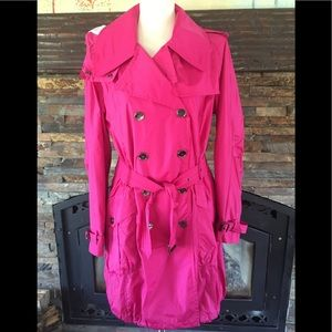 BURBERRY Raspberry Belted Trench Coat Jacket L/12